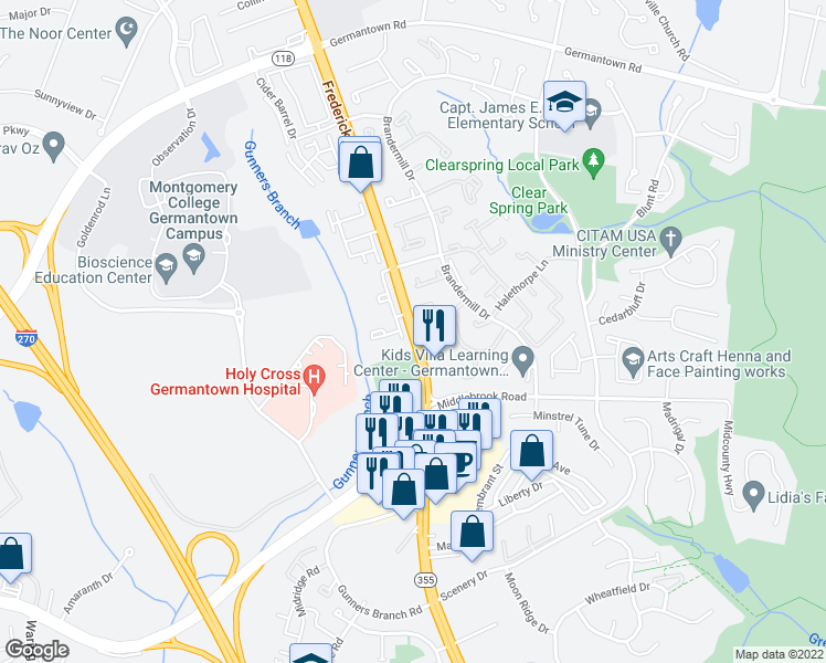 map of restaurants, bars, coffee shops, grocery stores, and more near 20006 North Frederick Road in Germantown