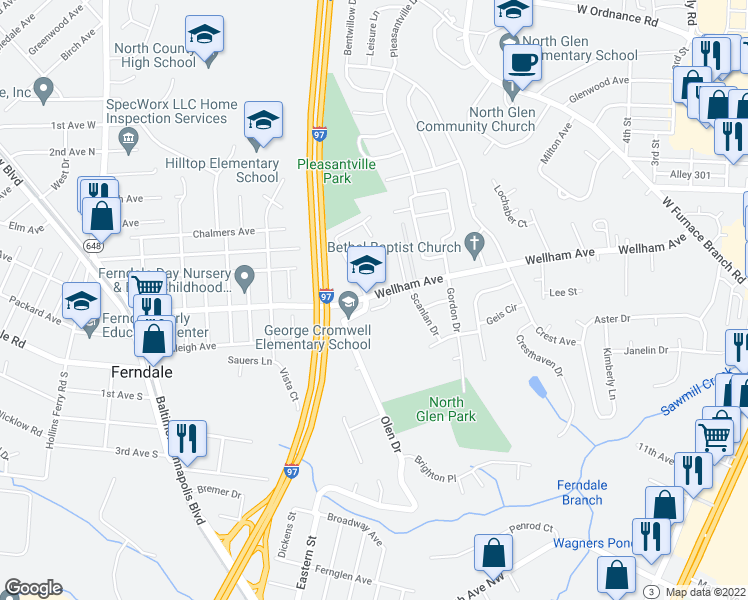 map of restaurants, bars, coffee shops, grocery stores, and more near 1503 Charles Avenue in Glen Burnie