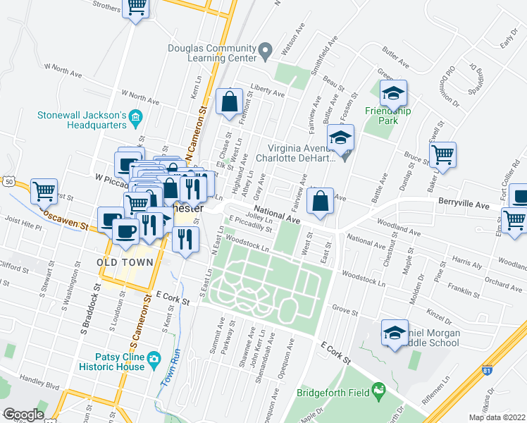 map of restaurants, bars, coffee shops, grocery stores, and more near 365 Charles Street in Winchester