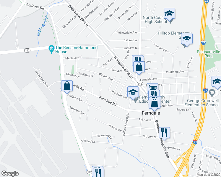map of restaurants, bars, coffee shops, grocery stores, and more near 504 Packard Avenue in Glen Burnie