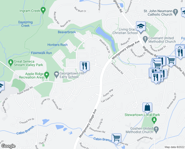 map of restaurants, bars, coffee shops, grocery stores, and more near in Gaithersburg