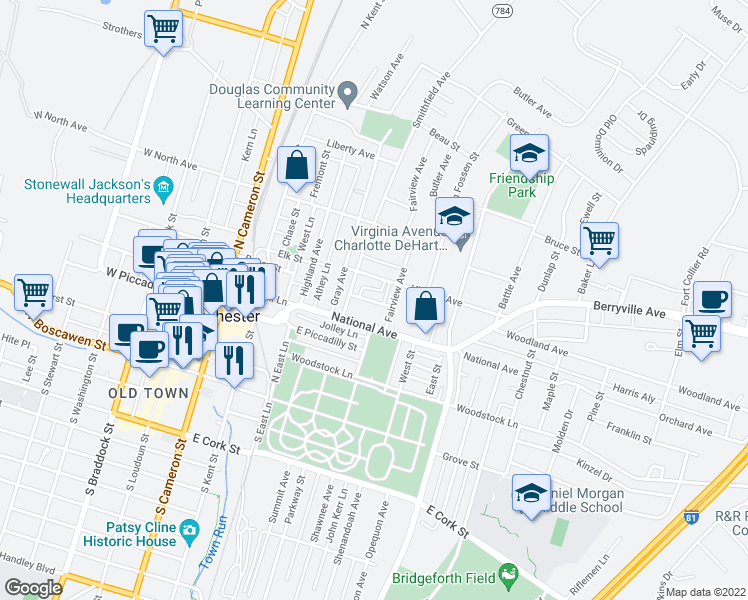 map of restaurants, bars, coffee shops, grocery stores, and more near 378 Charles Street in Winchester
