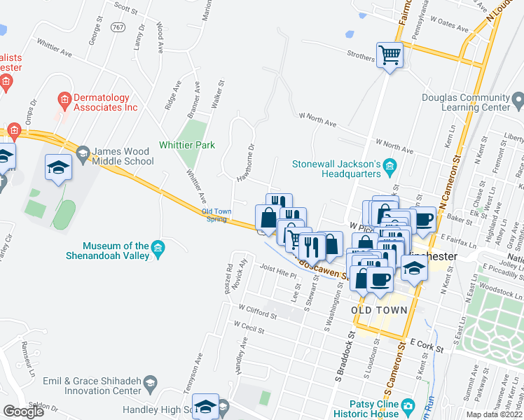 map of restaurants, bars, coffee shops, grocery stores, and more near 514 Amherst Street in Winchester
