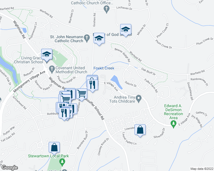 map of restaurants, bars, coffee shops, grocery stores, and more near 17 Butterwick Court in Gaithersburg