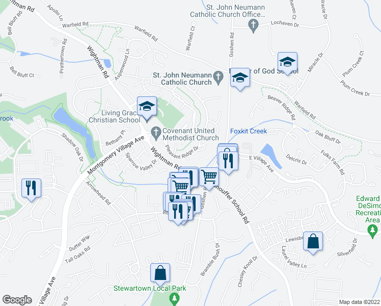 map of restaurants, bars, coffee shops, grocery stores, and more near 9104 Bakerhill Court in Gaithersburg