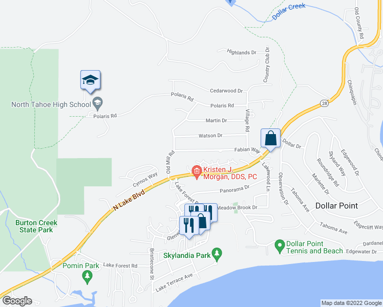 map of restaurants, bars, coffee shops, grocery stores, and more near 3050 Fabian Way in Tahoe City