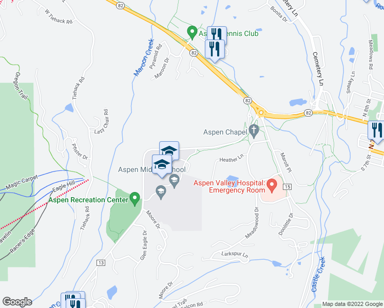 map of restaurants, bars, coffee shops, grocery stores, and more near 603 Maroon Creek Road in Aspen