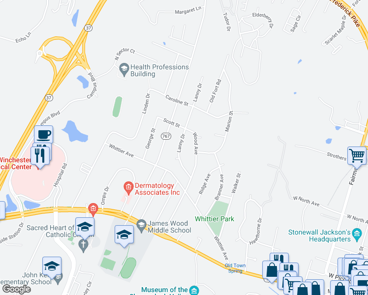 map of restaurants, bars, coffee shops, grocery stores, and more near 338 Lanny Dr in Winchester