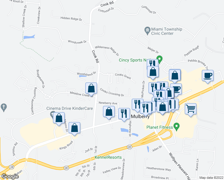 map of restaurants, bars, coffee shops, grocery stores, and more near 1030 Cooks Crossing Drive in Milford