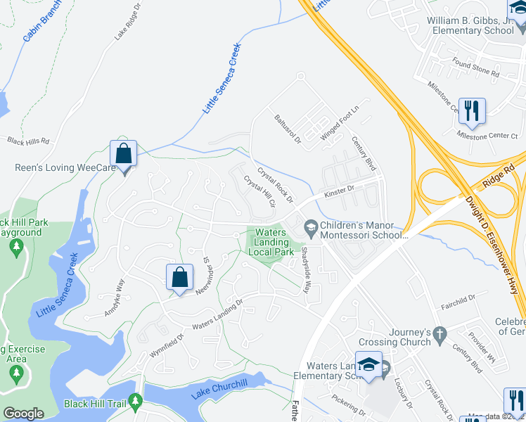 map of restaurants, bars, coffee shops, grocery stores, and more near 20700 Crystal Hill Circle in Germantown