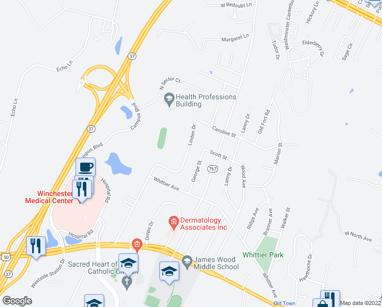 map of restaurants, bars, coffee shops, grocery stores, and more near 356 Linden Drive in Winchester