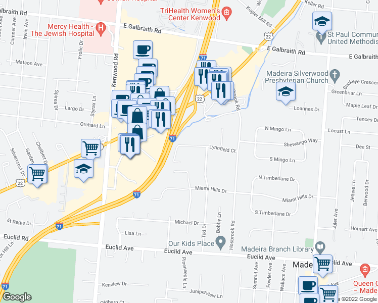 map of restaurants, bars, coffee shops, grocery stores, and more near 6915 Lynnfield Court in Cincinnati