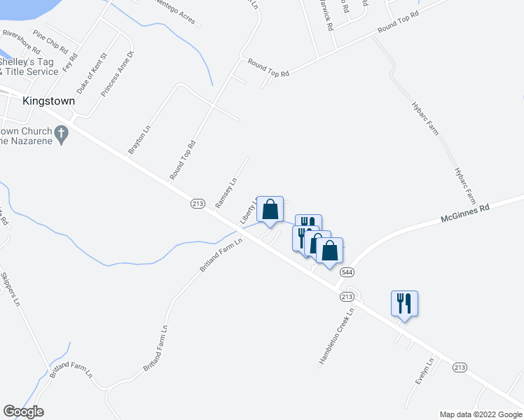 map of restaurants, bars, coffee shops, grocery stores, and more near 116 Liberty Lane in Chestertown