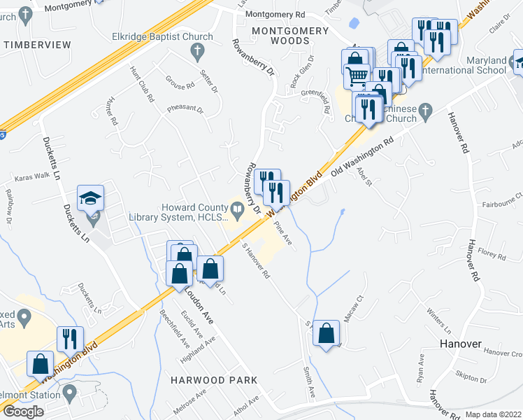 map of restaurants, bars, coffee shops, grocery stores, and more near 6319-6335 Rowanberry Drive in Elkridge