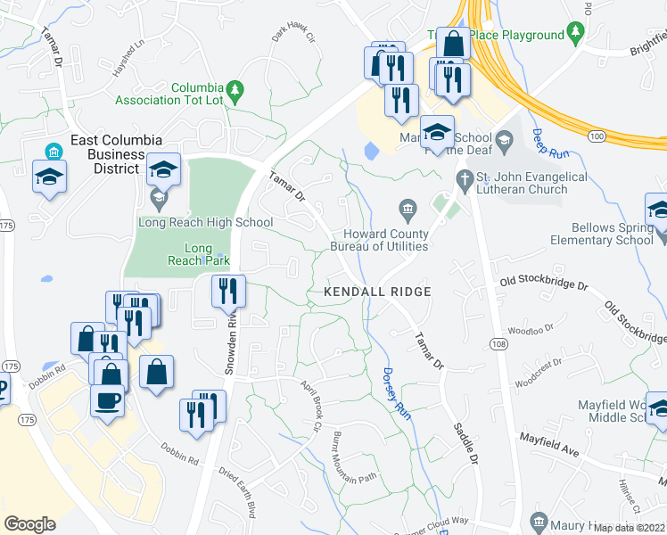 map of restaurants, bars, coffee shops, grocery stores, and more near 8251 Tamar Drive in Columbia