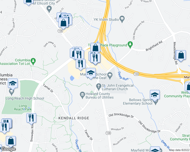 map of restaurants, bars, coffee shops, grocery stores, and more near 6000 University Boulevard in Ellicott City