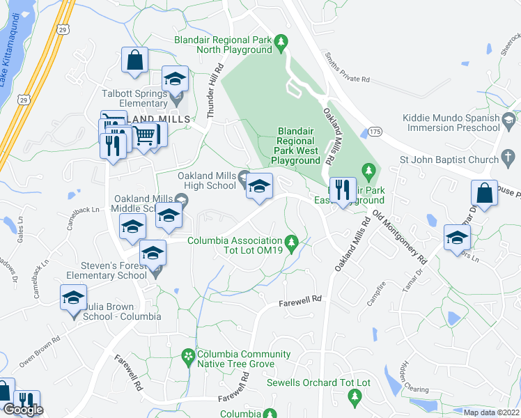 map of restaurants, bars, coffee shops, grocery stores, and more near 9410 Kilimanjaro Road in Columbia