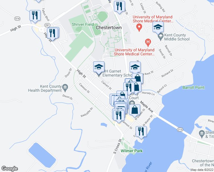 map of restaurants, bars, coffee shops, grocery stores, and more near 105 South Kent Street in Chestertown