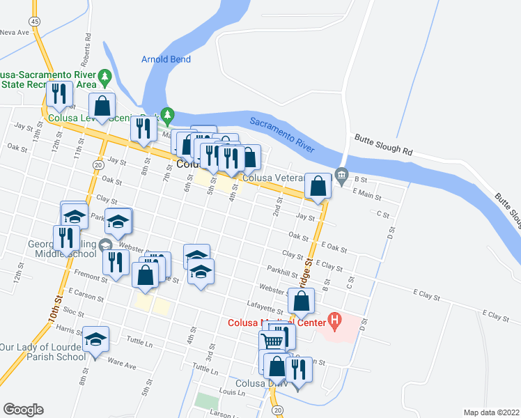 map of restaurants, bars, coffee shops, grocery stores, and more near 249 Jay Street in Colusa