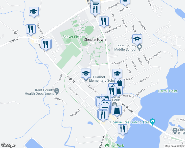 map of restaurants, bars, coffee shops, grocery stores, and more near 305 North College Avenue in Chestertown