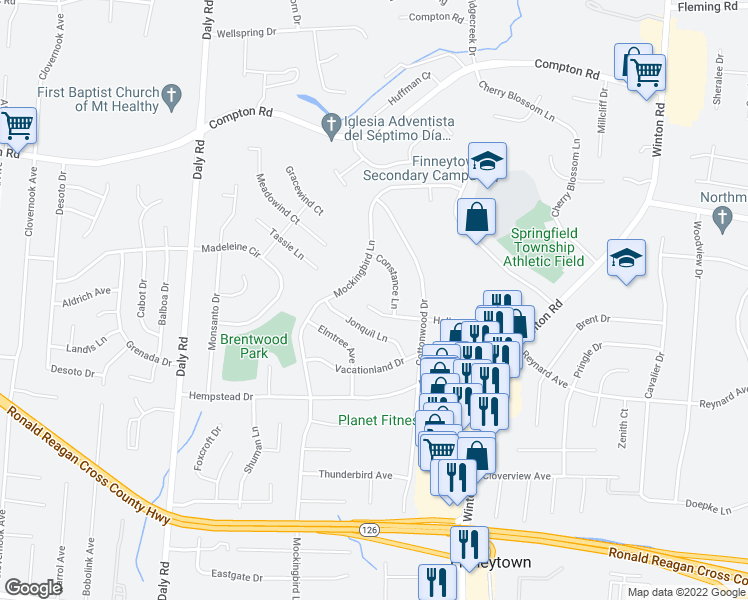 map of restaurants, bars, coffee shops, grocery stores, and more near 1034 Hollytree Drive in Cincinnati