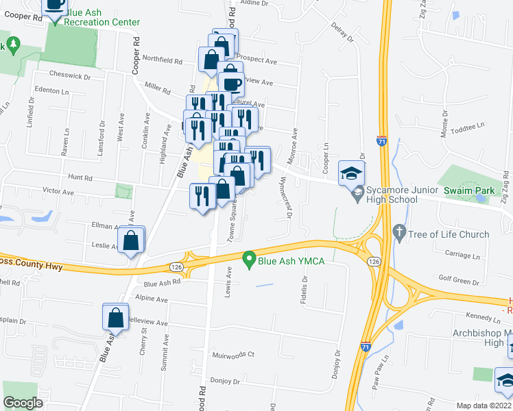 map of restaurants, bars, coffee shops, grocery stores, and more near 4900 Hunt Road in Blue Ash