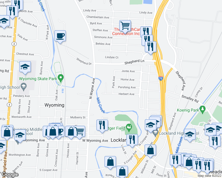 map of restaurants, bars, coffee shops, grocery stores, and more near 305 Park Avenue in Cincinnati