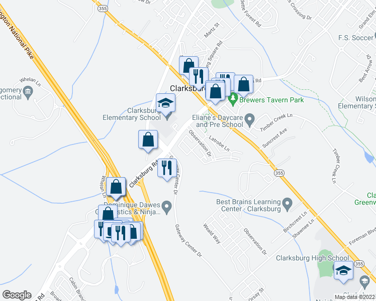 map of restaurants, bars, coffee shops, grocery stores, and more near 3 Scholl Manor Way in Clarksburg