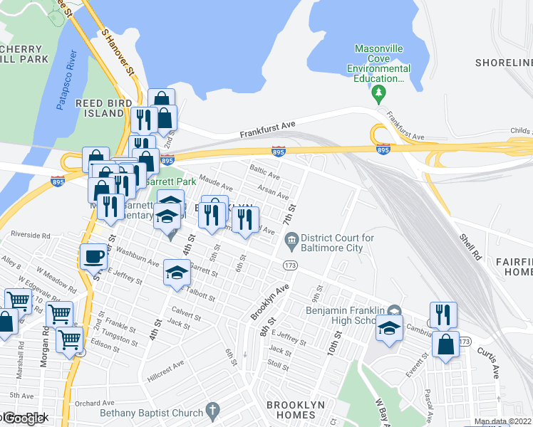 map of restaurants, bars, coffee shops, grocery stores, and more near 3509 6th Street in Baltimore