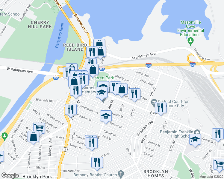 map of restaurants, bars, coffee shops, grocery stores, and more near 3561 Horton Avenue in Baltimore