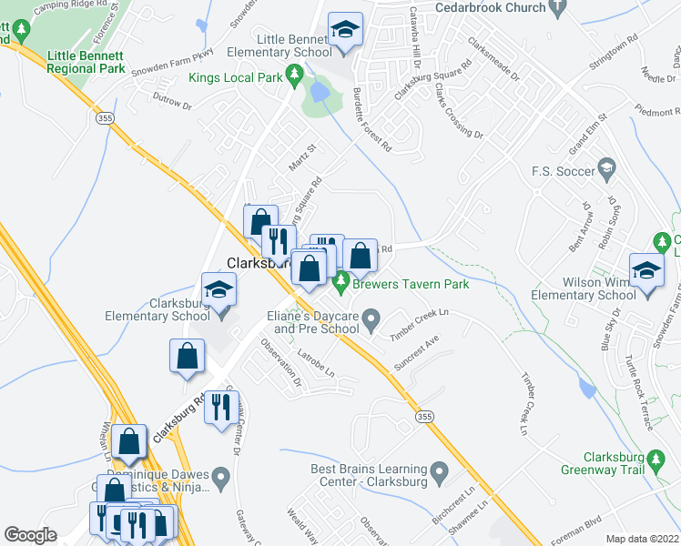map of restaurants, bars, coffee shops, grocery stores, and more near 13127 Sutler Square Terrace in Clarksburg