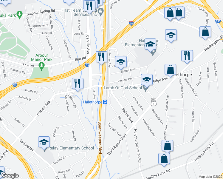 map of restaurants, bars, coffee shops, grocery stores, and more near Selma Avenue in Baltimore