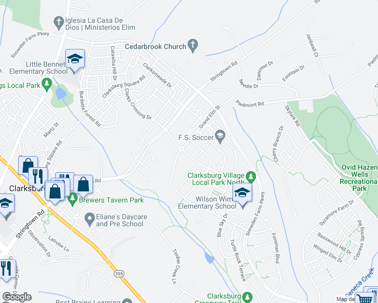 map of restaurants, bars, coffee shops, grocery stores, and more near 12800 Grand Elm Street in Clarksburg