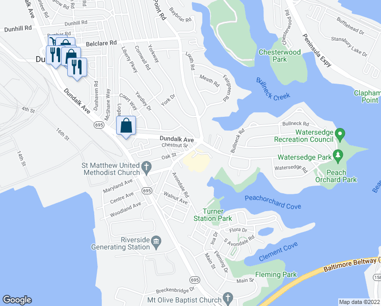 map of restaurants, bars, coffee shops, grocery stores, and more near 317-323 Sollers Point Road in Dundalk