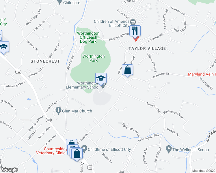 map of restaurants, bars, coffee shops, grocery stores, and more near 4584 Roundhill Road in Ellicott City