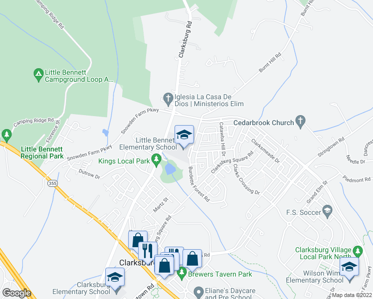 map of restaurants, bars, coffee shops, grocery stores, and more near 2930 Burdette Forest Road in Clarksburg