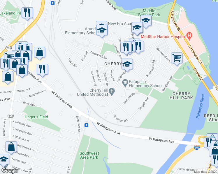 map of restaurants, bars, coffee shops, grocery stores, and more near 101 Independence Avenue Southeast in Washington
