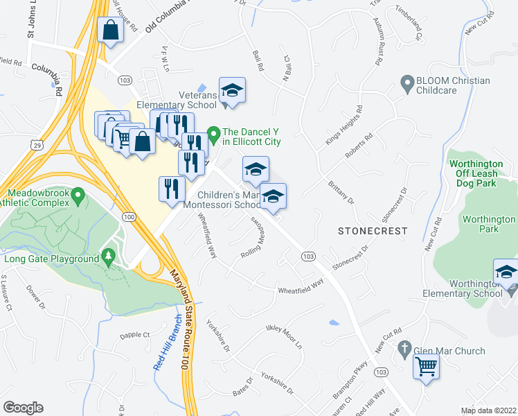 map of restaurants, bars, coffee shops, grocery stores, and more near 4443-4465 Montgomery Road in Ellicott City
