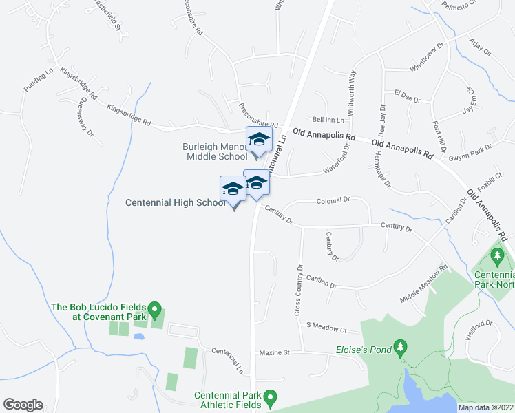 map of restaurants, bars, coffee shops, grocery stores, and more near 4256-4262 Centennial Ln in Ellicott City