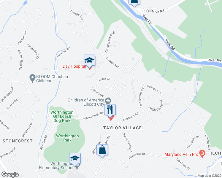 map of restaurants, bars, coffee shops, grocery stores, and more near 8280 Yellow Pine Drive in Ellicott City