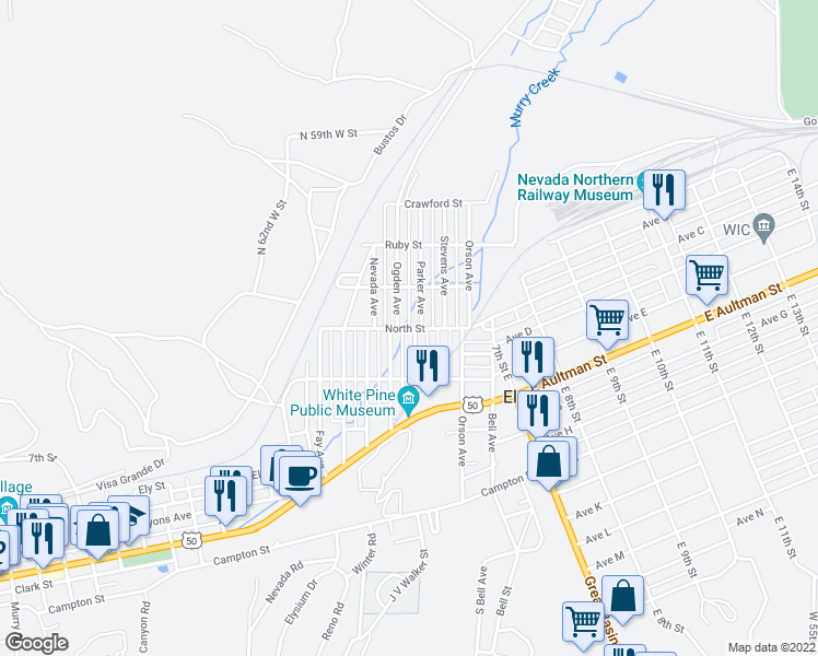 map of restaurants, bars, coffee shops, grocery stores, and more near North Street in Ely