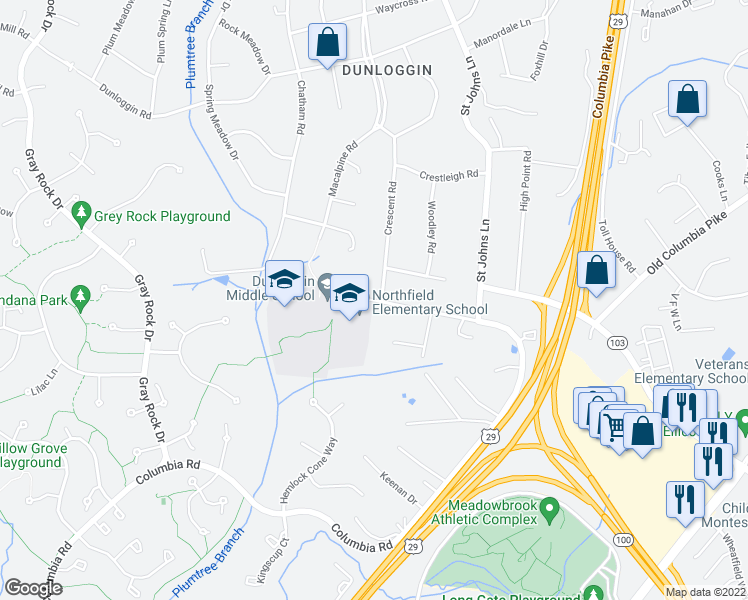map of restaurants, bars, coffee shops, grocery stores, and more near 9163-9199 Northfield Road in Ellicott City
