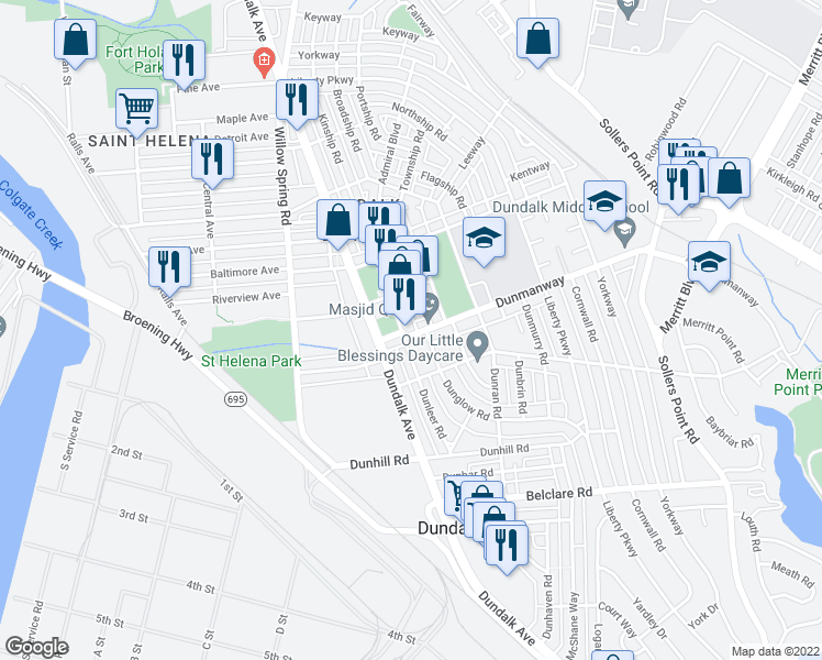 map of restaurants, bars, coffee shops, grocery stores, and more near 2 Dunmanway in Dundalk