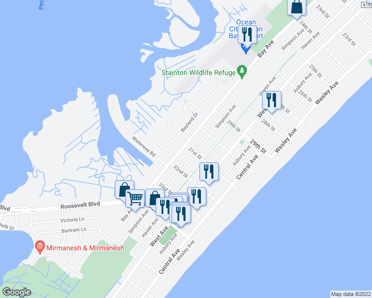 map of restaurants, bars, coffee shops, grocery stores, and more near 3101 Bay Avenue in Ocean City