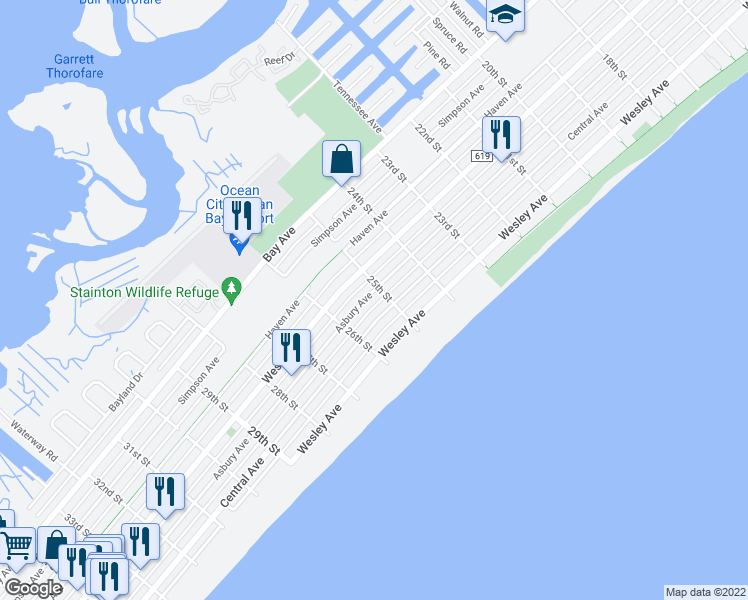 map of restaurants, bars, coffee shops, grocery stores, and more near 2513 Asbury Avenue in Ocean City