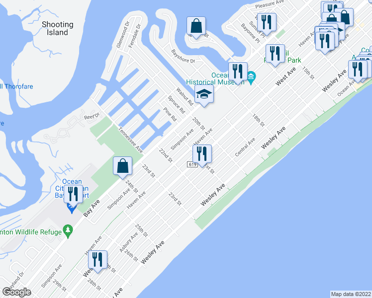 map of restaurants, bars, coffee shops, grocery stores, and more near 112 21st Street in Ocean City