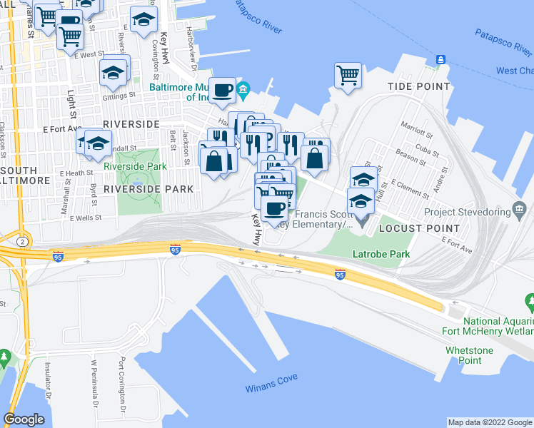 map of restaurants, bars, coffee shops, grocery stores, and more near 1700 Whetstone Way in Baltimore