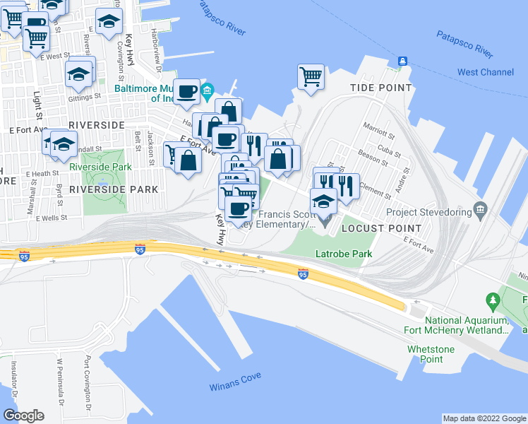 map of restaurants, bars, coffee shops, grocery stores, and more near 1401 Porter Street in Baltimore