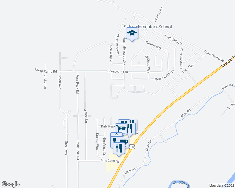 map of restaurants, bars, coffee shops, grocery stores, and more near 506 Northgate Drive in Dayton