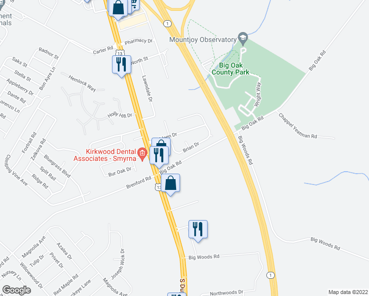 map of restaurants, bars, coffee shops, grocery stores, and more near 13 Katie Ann Court in Smyrna